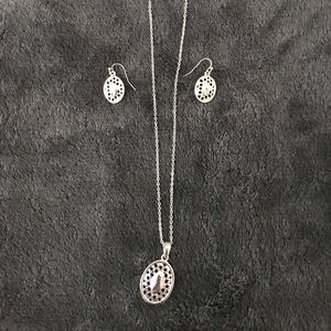 Jewelry - Sterling Silver Necklace Pendant and Earrings Set